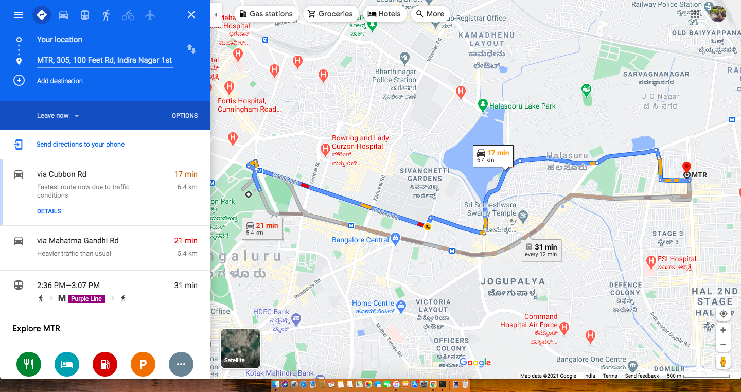 Google Maps, directions between two places